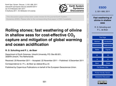Rolling Stones; Fast Weathering of Olivi... by Schuiling, R. D.