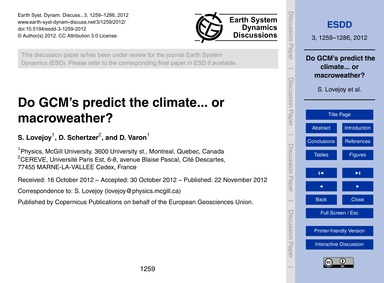 Do Gcm's Predict the Climate... or MacRo... by Lovejoy, S.