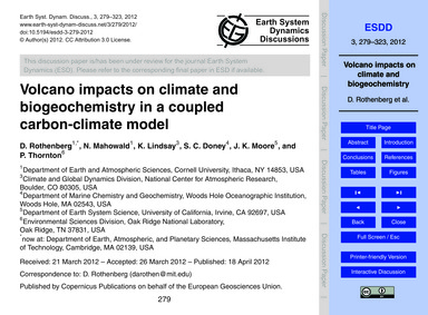 Volcano Impacts on Climate and Biogeoche... by Rothenberg, D.