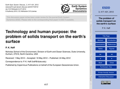 Technology and Human Purpose: the Proble... by Haff, P. K.