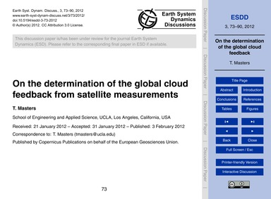 On the Determination of the Global Cloud... by Masters, T.