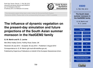 The Influence of Dynamic Vegetation on t... by Martin, G. M.