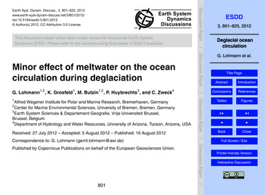 Minor Effect of Meltwater on the Ocean C... by Lohmann, G.