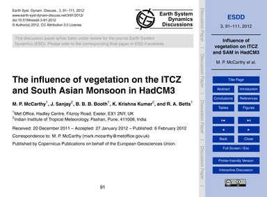 The Influence of Vegetation on the Itcz ... by McCarthy, M. P.