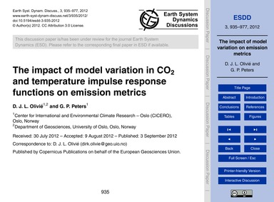 The Impact of Model Variation in Co2 and... by Olivié, D. J. L.