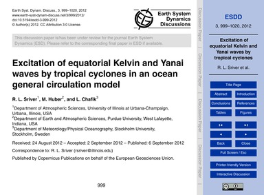 Excitation of Equatorial Kelvin and Yana... by Sriver, R. L.