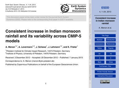 Consistent Increase in Indian Monsoon Ra... by Menon, A.