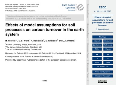 Effects of Model Assumptions for Soil Pr... by Foereid, B.