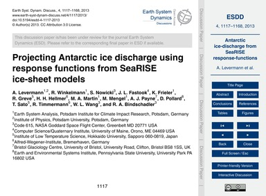 Projecting Antarctic Ice Discharge Using... by Levermann, A.