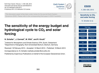 The Sensitivity of the Energy Budget and... by Schaller, N.