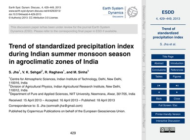 Trend of Standardized Precipitation Inde... by Jha, S.