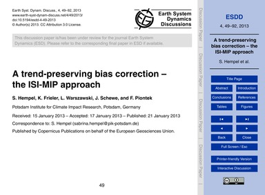 A Trend-preserving Bias Correction – the... by Hempel, S.