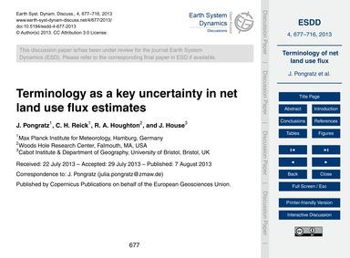Terminology as a Key Uncertainty in Net ... by Pongratz, J.