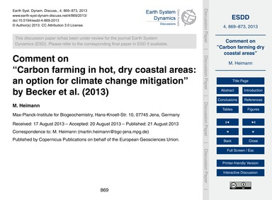 Comment on Carbon Farming in Hot, Dry Co... by Heimann, M.