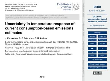 Uncertainty in Temperature Response of C... by Karstensen, J.