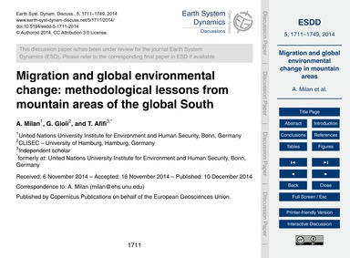 Migration and Global Environmental Chang... by Milan, A.