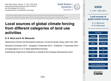 Local Sources of Global Climate Forcing ... by Ward, D. S.
