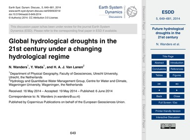 Global Hydrological Droughts in the 21St... by Wanders, N.