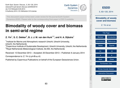 Bimodality of Woody Cover and Biomass in... by Yin, Z.