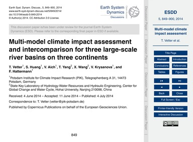 Multi-model Climate Impact Assessment an... by Vetter, T.