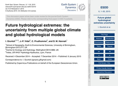 Future Hydrological Extremes: the Uncert... by Giuntoli, I.