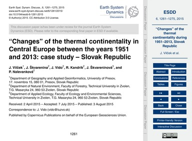 Changes of the Thermal Continentality in... by Vilček, J.