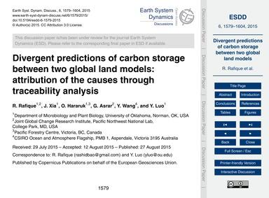 Divergent Predictions of Carbon Storage ... by Rafique, R.