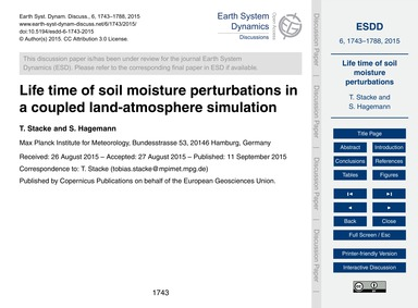 Life Time of Soil Moisture Perturbations... by Stacke, T.