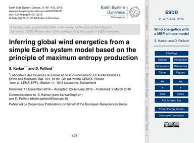 Inferring Global Wind Energetics from a ... by Karkar, S.