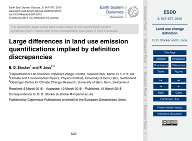 Large Differences in Land Use Emission Q... by Stocker, B. D.