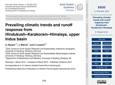 Prevailing Climatic Trends and Runoff Re... by Hasson, S.