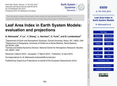 Leaf Area Index in Earth System Models: ... by Mahowald, N.
