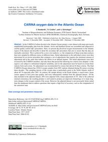 Carina Oxygen Data in the Atlantic Ocean... by Stendardo, I.