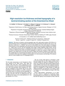High-resolution Ice Thickness and Bed To... by Lindbäck, K.
