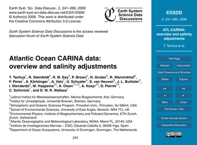 Atlantic Ocean Carina Data: Overview and... by Tanhua, T.