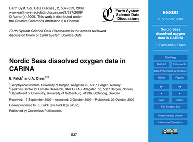 Nordic Seas Dissolved Oxygen Data in Car... by Falck, E.