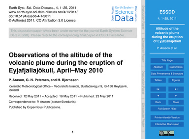 Observations of the Altitude of the Volc... by Arason, P.