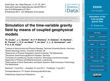 Simulation of the Time-variable Gravity ... by Gruber, Th.
