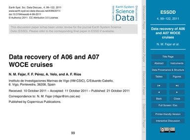 Data Recovery of A06 and A07 Woce Cruise... by Fajar, N. M.