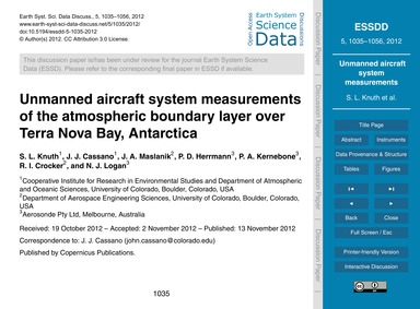 Unmanned Aircraft System Measurements of... by Knuth, S. L.