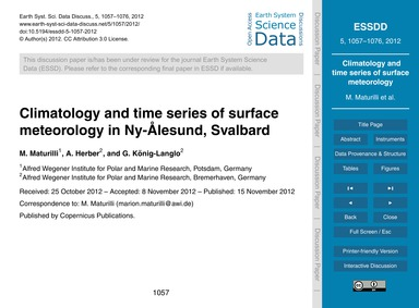 Climatology and Time Series of Surface M... by Maturilli, M.