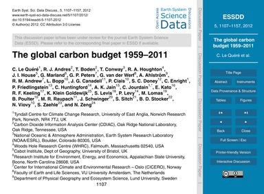 The Global Carbon Budget 1959–2011 : Vol... by Le Quéré, C.