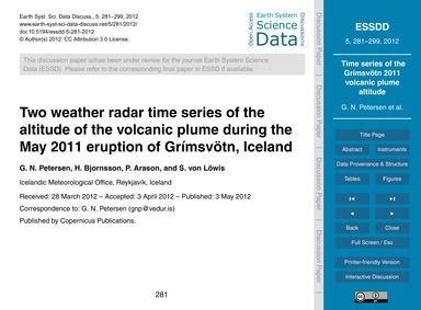 Two Weather Radar Time Series of the Alt... by Petersen, G. N.