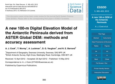 A New 100-m Digital Elevation Model of t... by Cook, A. J.
