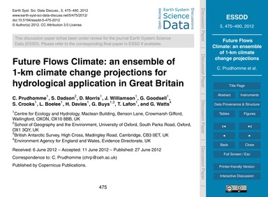 Future Flows Climate: an Ensemble of 1-k... by Prudhomme, C.