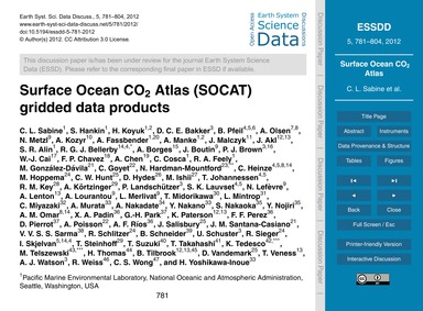 Surface Ocean Co2 Atlas (Socat) Gridded ... by Sabine, C. L.