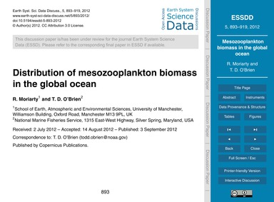 Distribution of Mesozooplankton Biomass ... by Moriarty, R.
