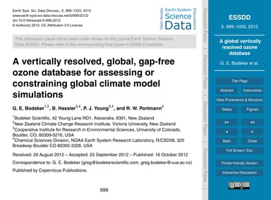 A Vertically Resolved, Global, Gap-free ... by Bodeker, G. E.