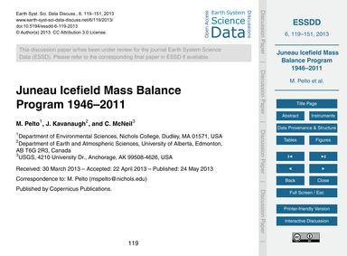 Juneau Icefield Mass Balance Program 194... by Pelto, M.