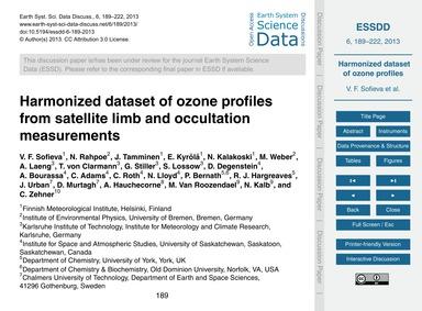Harmonized Dataset of Ozone Profiles fro... by Sofieva, V. F.